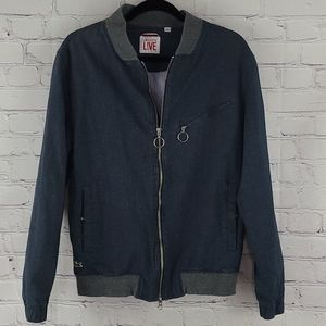 Lacoste Live Fully Lined Blue Jacket Size Large